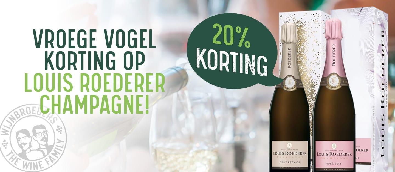 Vroege vogel korting 20% Korting op Champagne van Louis Roederer Brut Rosé + Louis Roederer Brut Premier