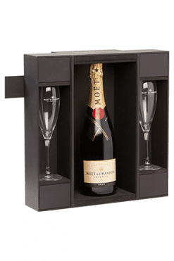 Moet & chandon brut coffret + 2 flutes